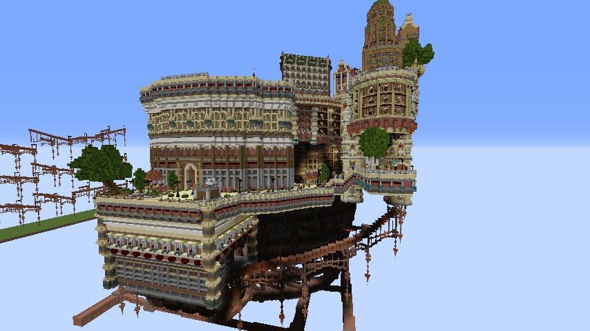 Minecrafterししゃもがマインクラフトでぷっこ村の空中都市プコサヴィルの南駅を作るよ7