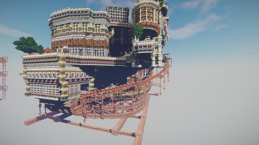 Minecrafterししゃもがマインクラフトでぷっこ村の空中都市プコサヴィルの南駅構内と周辺を作るよ1