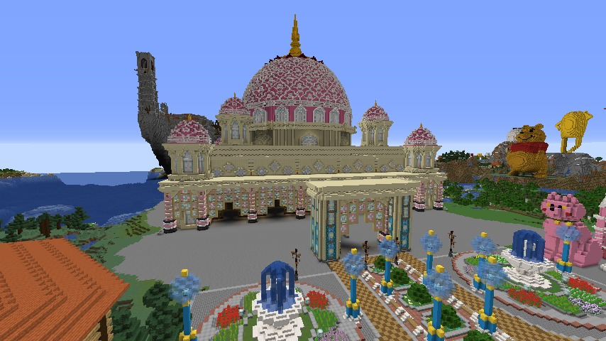 Minecrafterししゃもがマインクラフトでぷっこ村にピンクのモスクを作る4