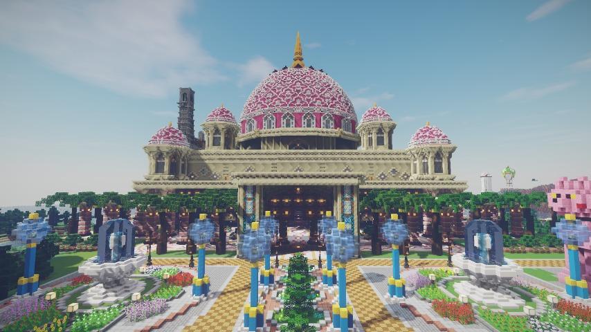 Minecrafterししゃもがマインクラフトでぷっこ村にピンクのモスクを作る8