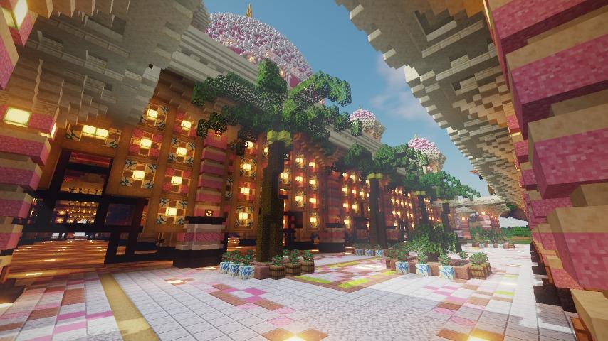 Minecrafterししゃもがマインクラフトでぷっこ村にピンクのモスクを作る11