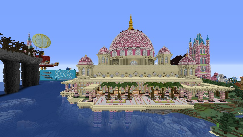 Minecrafterししゃもがマインクラフトでぷっこ村にピンクのモスクを作る6