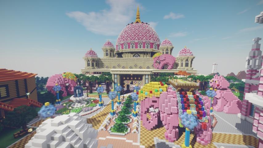 Minecrafterししゃもがマインクラフトでぷっこ村にピンクモスクの内装を仕上げる12