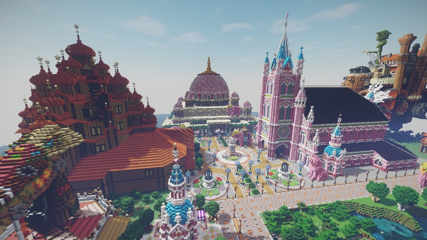Minecrafterししゃもがマインクラフトでぷっこ村にピンクモスクの内装を仕上げる13