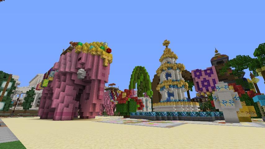 Minecrafterししゃもがマインクラフトでぷっこ村にピンクの象様区を作って観光振興する6