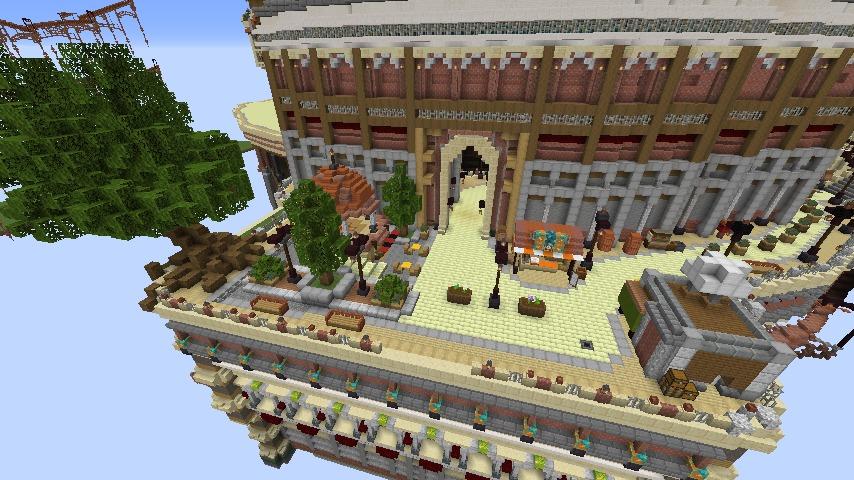 Minecrafterししゃもがマインクラフトでぷっこ村の空中都市プコサヴィルの南駅構内と周辺を作るよ3