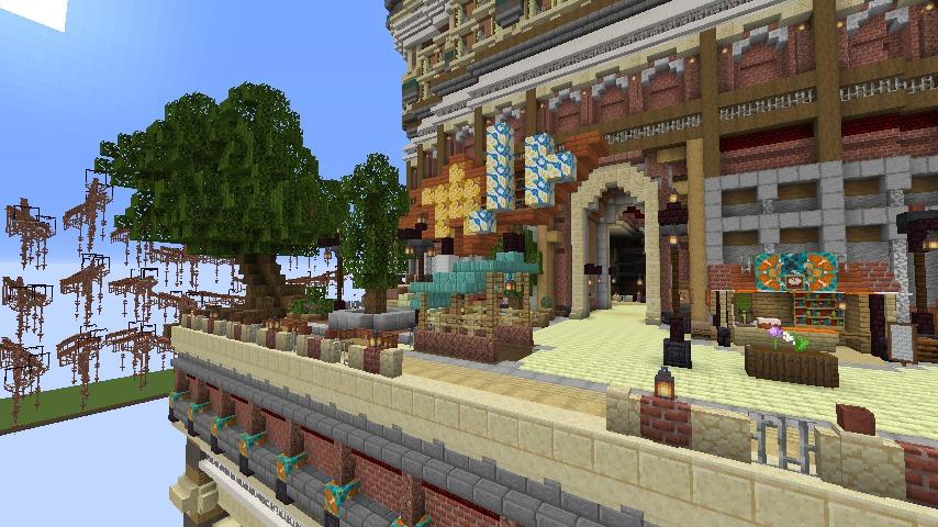 Minecrafterししゃもがマインクラフトでぷっこ村の空中都市プコサヴィルの南駅構内と周辺を作るよ4