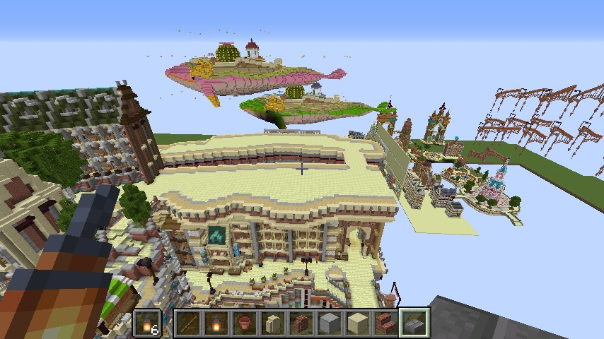 Minecrafterししゃもがマインクラフトでぷっこ村の空中都市プコサヴィルの南駅構内と周辺を作るよ10