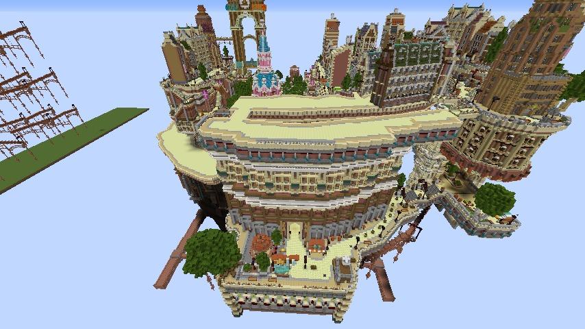 Minecrafterししゃもがマインクラフトでぷっこ村の空中都市プコサヴィルの南駅構内と周辺を作るよ8