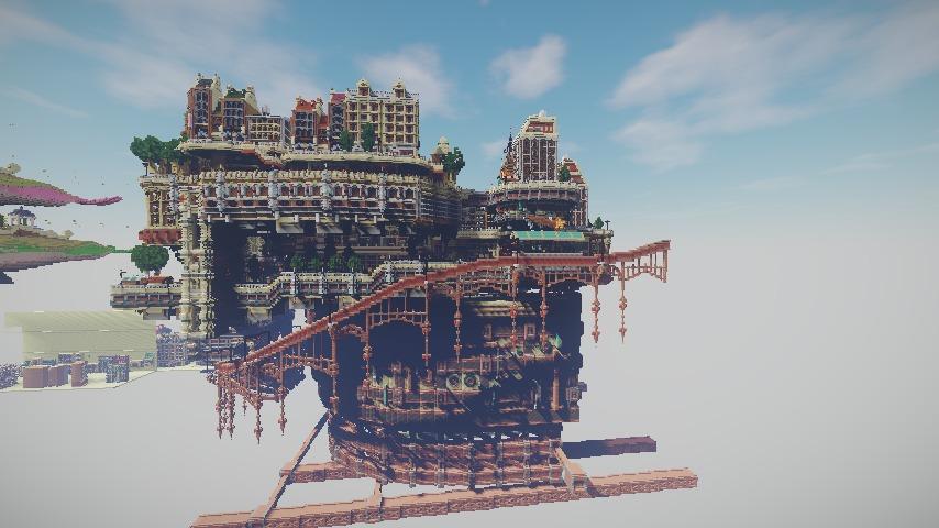 Minecrafterししゃもがマインクラフトでぷっこ村の空中都市プコサヴィルの南駅構内と周辺を作るよ14
