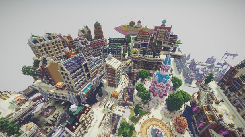 Minecrafterししゃもがマインクラフトでぷっこ村の空中都市プコサヴィルの南駅構内と周辺を作るよ13