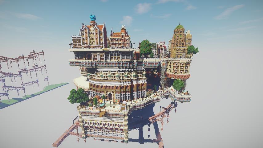 Minecrafterししゃもがマインクラフトでぷっこ村の空中都市プコサヴィルの南駅構内と周辺を作るよ12