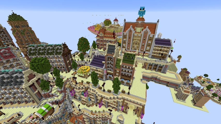 Minecrafterししゃもがマインクラフトでぷっこ村の空中都市プコサヴィルの南駅構内と周辺を作るよ11