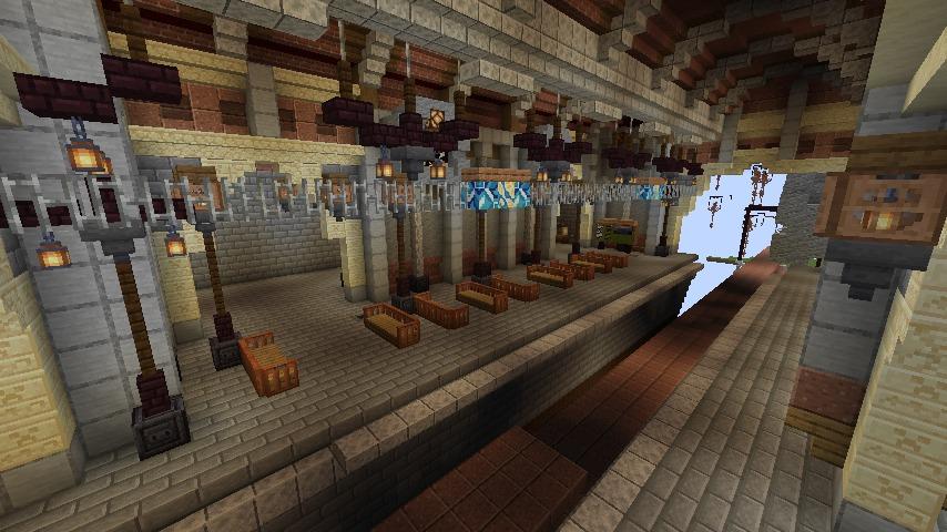 Minecrafterししゃもがマインクラフトでぷっこ村の空中都市プコサヴィルの南駅構内と周辺を作るよ6