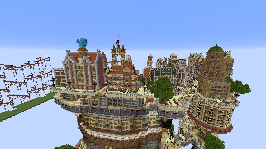 Minecrafterししゃもがマインクラフトでぷっこ村の空中都市プコサヴィルの南駅構内と周辺を作るよ9
