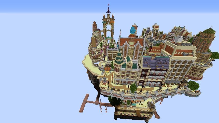 Minecrafterししゃもがマインクラフトでぷっこ村の空中都市プコサヴィルの西側を作り始める2