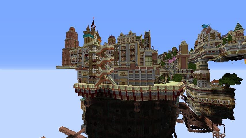 Minecrafterししゃもがマインクラフトでぷっこ村の空中都市プコサヴィルの西側を作り始める5
