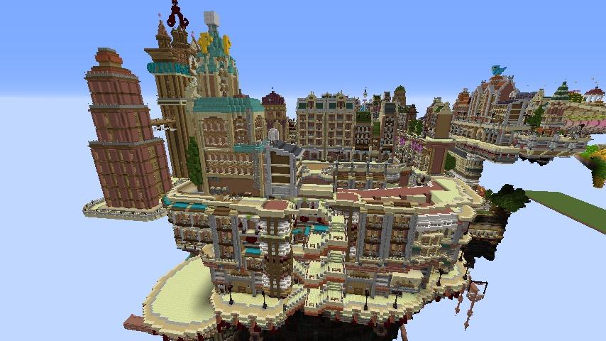 Minecrafterししゃもがマインクラフトでぷっこ村の空中都市プコサヴィルの西側を完成させる1