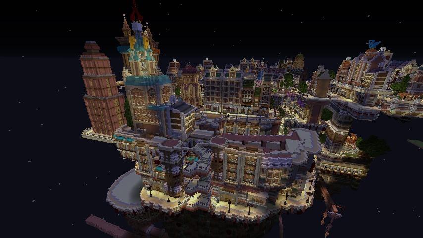Minecrafterししゃもがマインクラフトでぷっこ村の空中都市プコサヴィルの西側を作り始める7