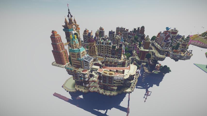 Minecrafterししゃもがマインクラフトでぷっこ村の空中都市プコサヴィルの西側を作り始める9