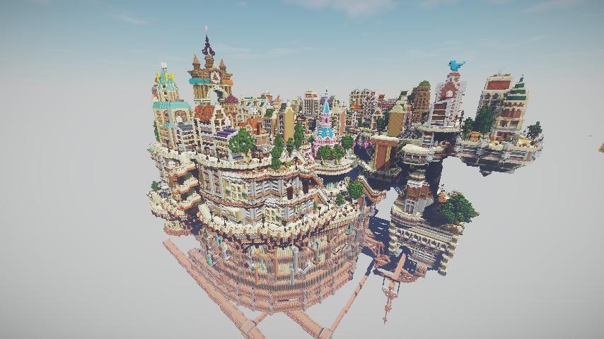 Minecrafterししゃもがマインクラフトでぷっこ村の空中都市プコサヴィルの西側を完成させる10