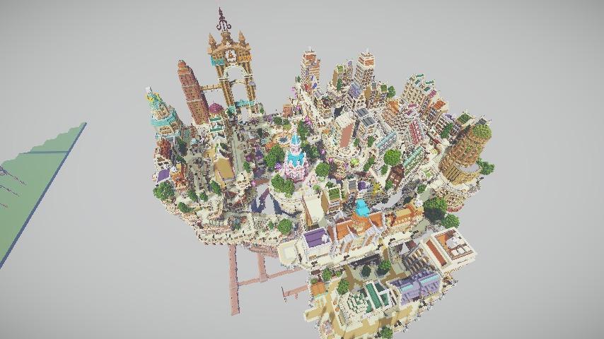 Minecrafterししゃもがマインクラフトでぷっこ村の空中都市プコサヴィルの西側を完成させる9