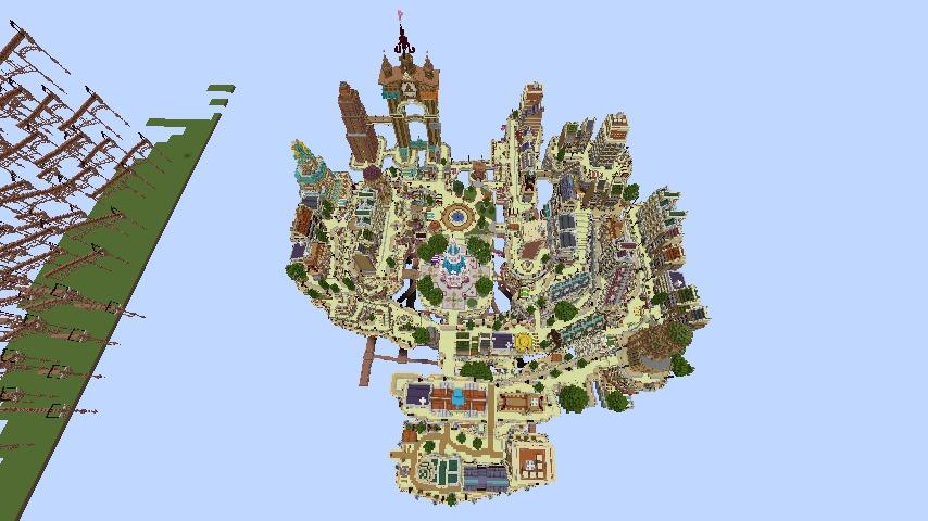 Minecrafterししゃもがマインクラフトでぷっこ村の空中都市プコサヴィルの西側を完成させる8