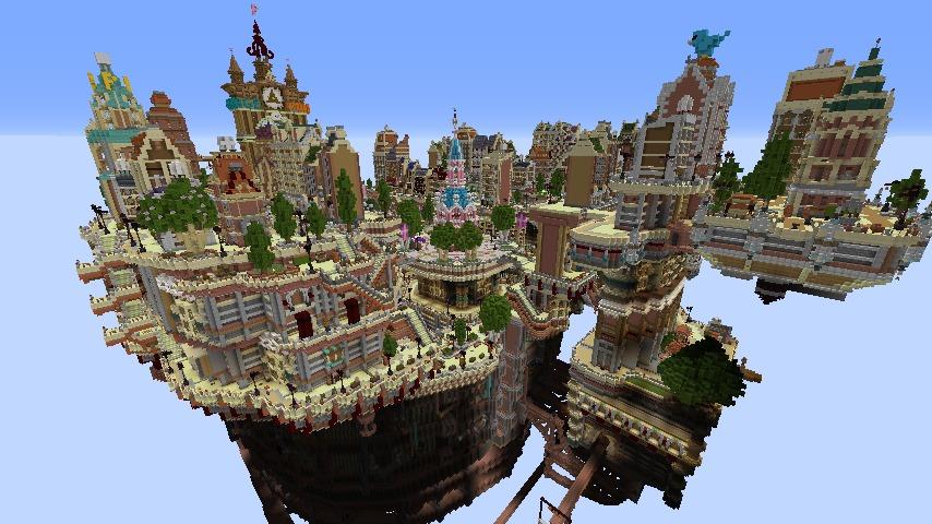 Minecrafterししゃもがマインクラフトでぷっこ村の空中都市プコサヴィルの西側を完成させる7