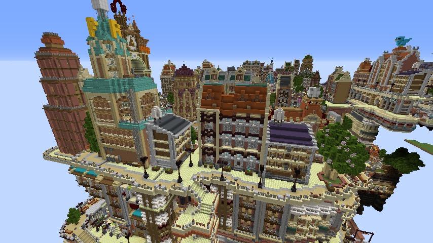 Minecrafterししゃもがマインクラフトでぷっこ村の空中都市プコサヴィルの西側を完成させる2