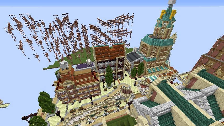 Minecrafterししゃもがマインクラフトでぷっこ村の空中都市プコサヴィルの西側を完成させる3