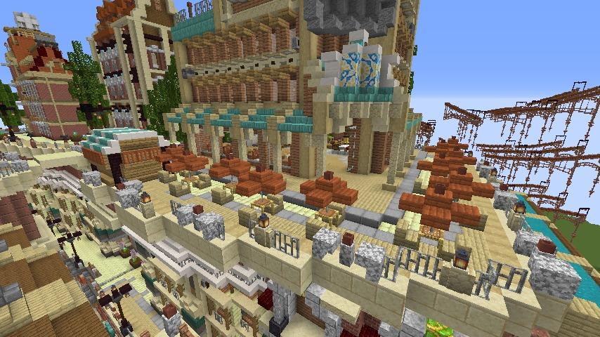 Minecrafterししゃもがマインクラフトでぷっこ村の空中都市プコサヴィルの西側を完成させる4