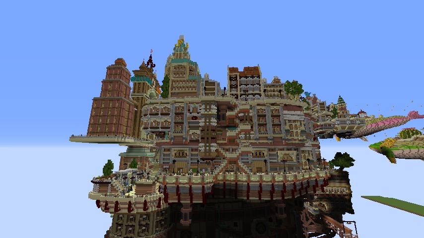 Minecrafterししゃもがマインクラフトでぷっこ村の空中都市プコサヴィルの西側を完成させる5