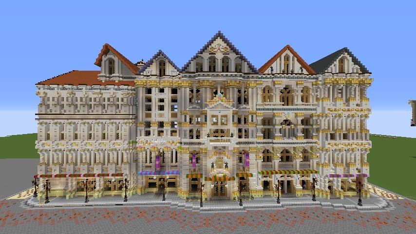 Minecrafterししゃもがマインクラフトでぷっこ村にギルドハウスをモデルにした建築物を建てる2