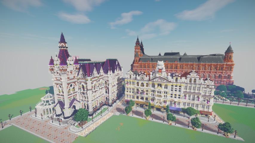 Minecrafterししゃもがマインクラフトでぷっこ村にギルドハウスをモデルにした建築物を建てる9