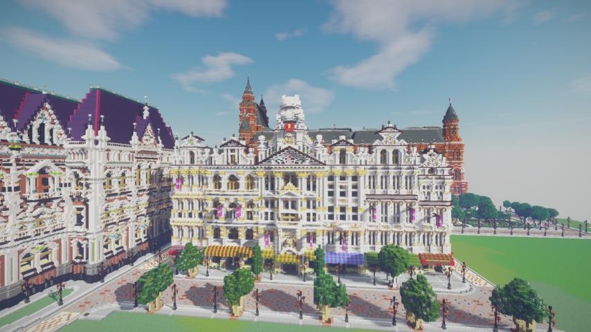 Minecrafterししゃもがマインクラフトでぷっこ村にギルドハウスをモデルにした建築物を建てる5