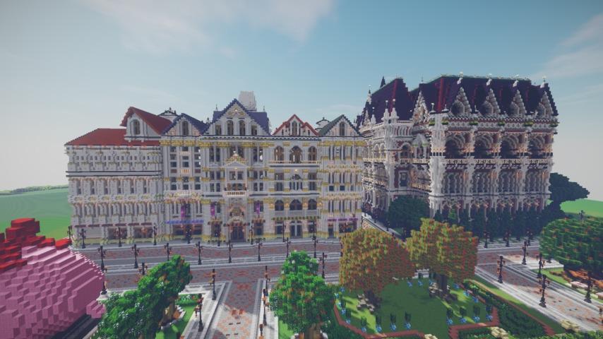 Minecrafterししゃもがマインクラフトでぷっこ村にギルドハウスをモデルにした建築物を建てる8