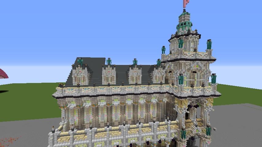 Minecrafterししゃもがマインクラフトでぷっこ村にMaison du Roi をモデルにしたお屋敷を建築する5