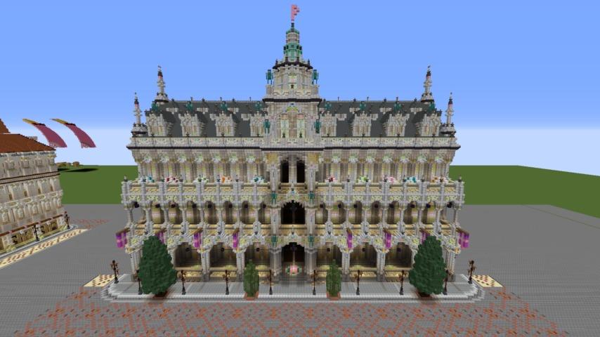 Minecrafterししゃもがマインクラフトでぷっこ村にMaison du Roi をモデルにしたお屋敷を建築する6