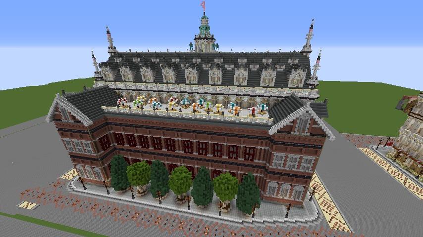 Minecrafterししゃもがマインクラフトでぷっこ村にMaison du Roi をモデルにしたお屋敷を建築する9