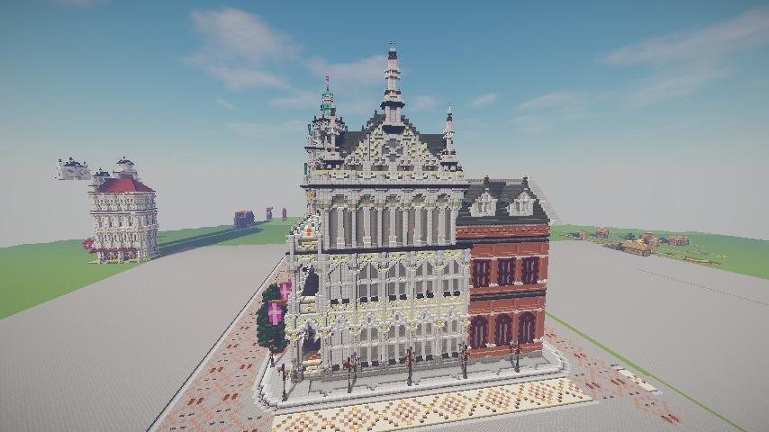 Minecrafterししゃもがマインクラフトでぷっこ村にMaison du Roi をモデルにしたお屋敷を建築する11