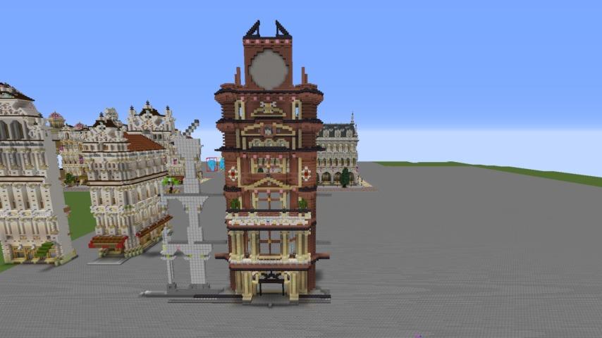 Minecrafterししゃもがマインクラフトでぷっこ村にバルモラルホテル をモデルにした時計塔のあるホテルを建築する1