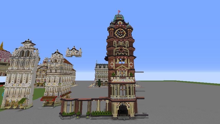 Minecrafterししゃもがマインクラフトでぷっこ村にバルモラルホテル をモデルにした時計塔のあるホテルを建築する2