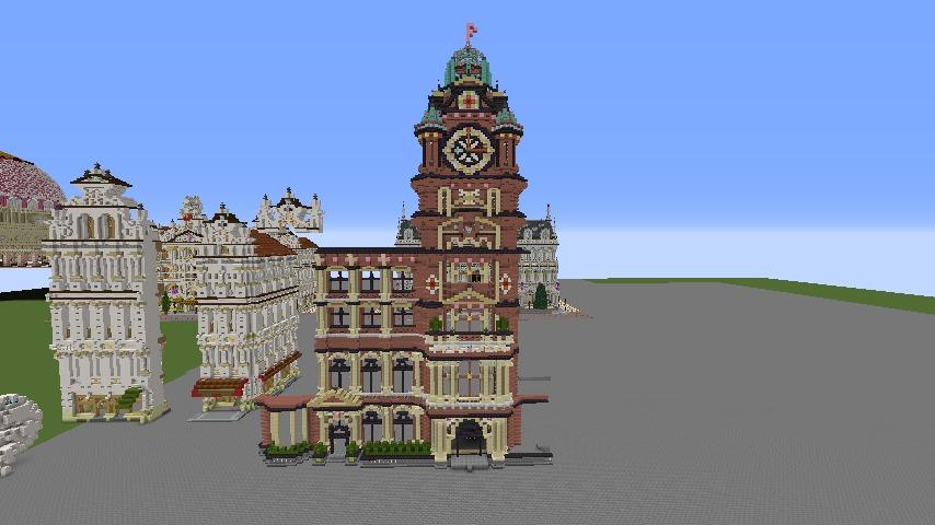 Minecrafterししゃもがマインクラフトでぷっこ村にバルモラルホテル をモデルにした時計塔のあるホテルを建築する3