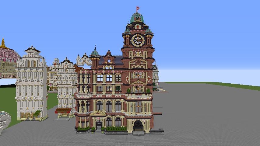 Minecrafterししゃもがマインクラフトでぷっこ村にバルモラルホテル をモデルにした時計塔のあるホテルを建築する4