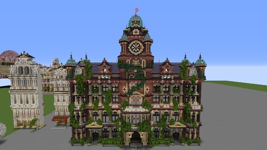 Minecrafterししゃもがマインクラフトでぷっこ村にバルモラルホテル をモデルにした時計塔のあるホテルを建築する5