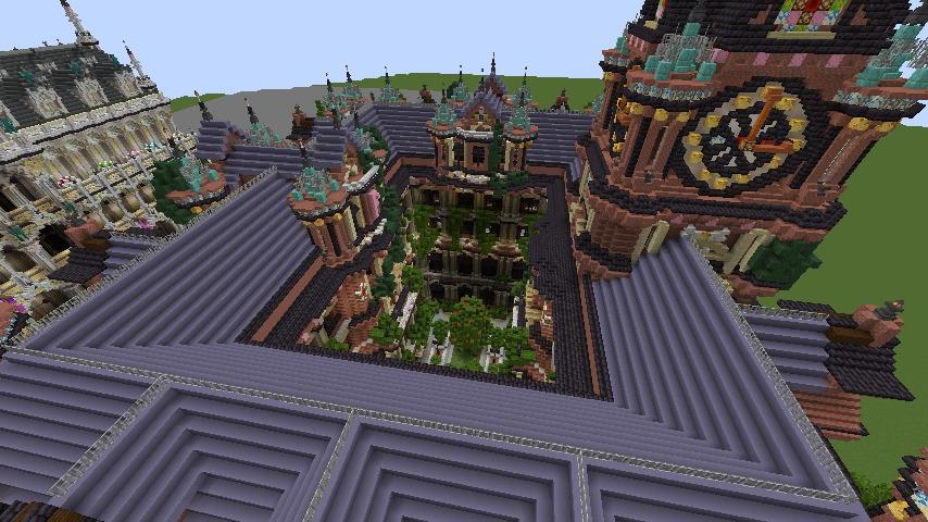 Minecrafterししゃもがマインクラフトでぷっこ村にバルモラルホテル をモデルにした時計塔のあるホテルを建築する10