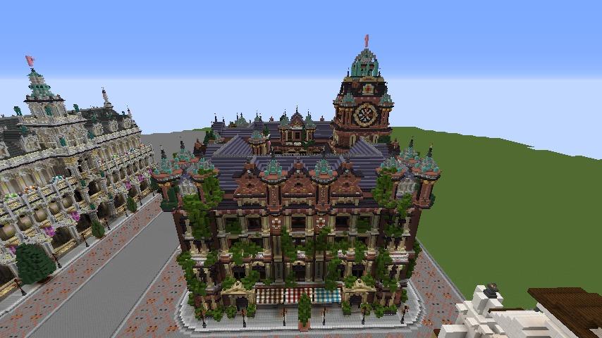 Minecrafterししゃもがマインクラフトでぷっこ村にバルモラルホテル をモデルにした時計塔のあるホテルを建築する8