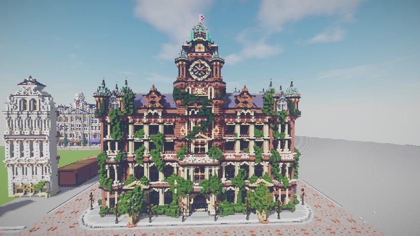 Minecrafterししゃもがマインクラフトでぷっこ村にバルモラルホテル をモデルにした時計塔のあるホテルを建築する12