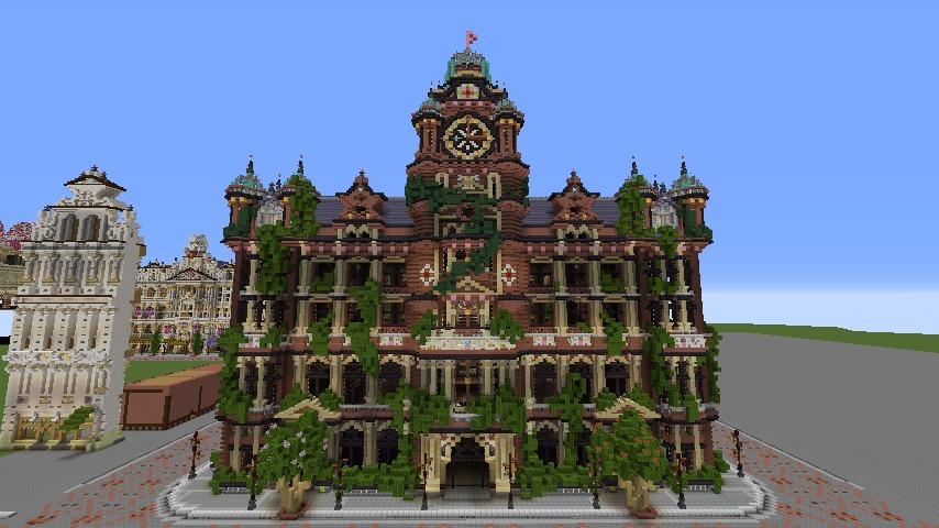 Minecrafterししゃもがマインクラフトでぷっこ村にバルモラルホテル をモデルにした時計塔のあるホテルを建築する6