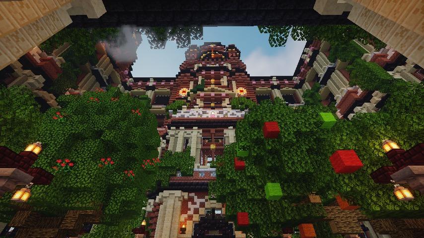 Minecrafterししゃもがマインクラフトでぷっこ村にバルモラルホテル をモデルにした時計塔のあるホテルを建築する11